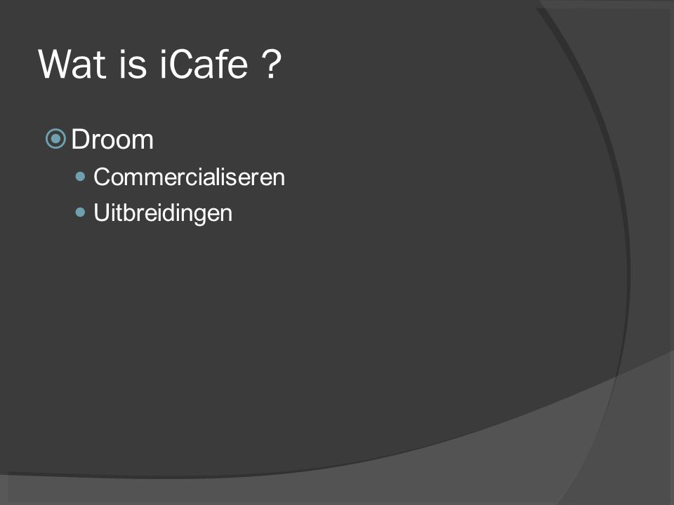 Wat is iCafe  Droom Commercialiseren Uitbreidingen