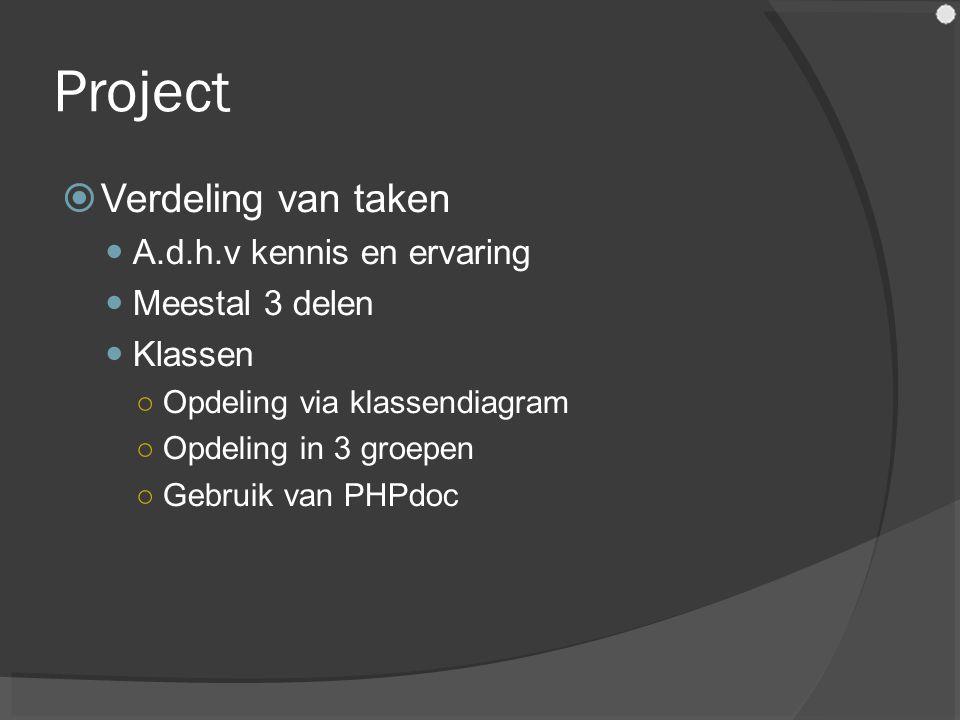 Project  Verdeling van taken A.d.h.v kennis en ervaring Meestal 3 delen Klassen ○Opdeling via klassendiagram ○Opdeling in 3 groepen ○Gebruik van PHPdoc