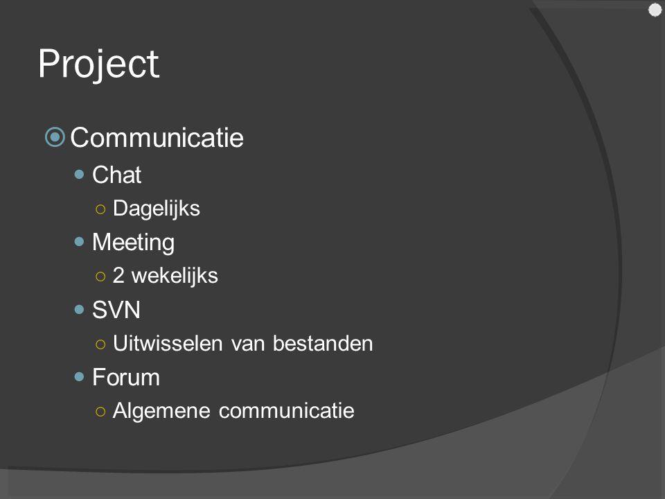 Project  Communicatie Chat ○Dagelijks Meeting ○2 wekelijks SVN ○Uitwisselen van bestanden Forum ○Algemene communicatie
