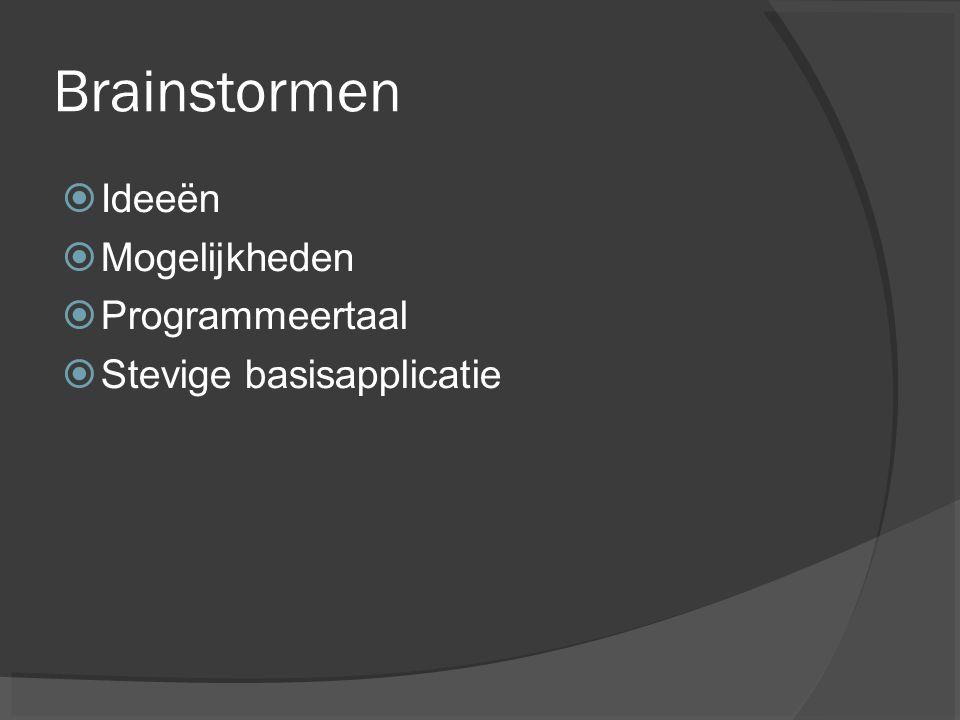 Brainstormen  Ideeën  Mogelijkheden  Programmeertaal  Stevige basisapplicatie