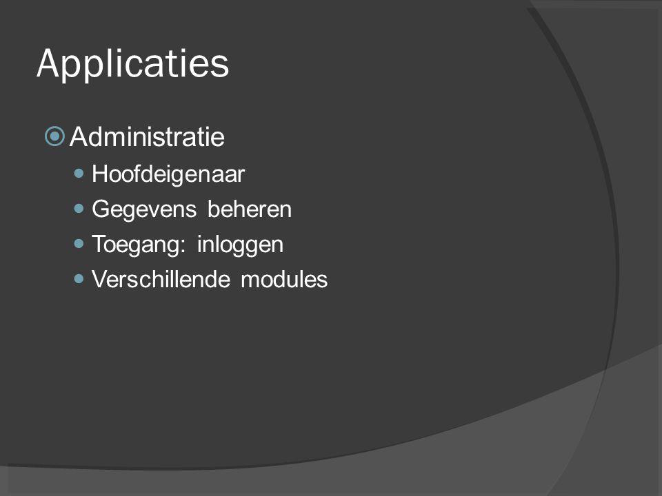 Applicaties  Administratie Hoofdeigenaar Gegevens beheren Toegang: inloggen Verschillende modules