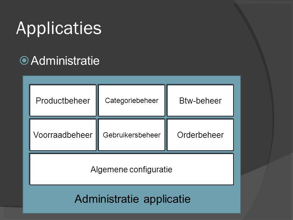 Applicaties  Administratie Productbeheer Categoriebeheer Btw-beheer Voorraadbeheer Gebruikersbeheer Orderbeheer Algemene configuratie Administratie applicatie