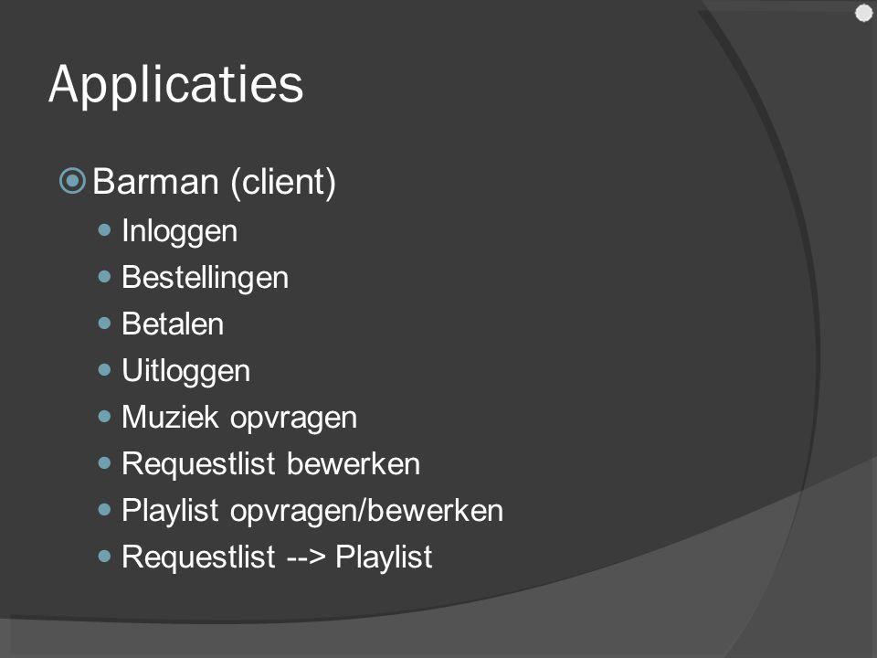 Applicaties  Barman (client) Inloggen Bestellingen Betalen Uitloggen Muziek opvragen Requestlist bewerken Playlist opvragen/bewerken Requestlist --> Playlist