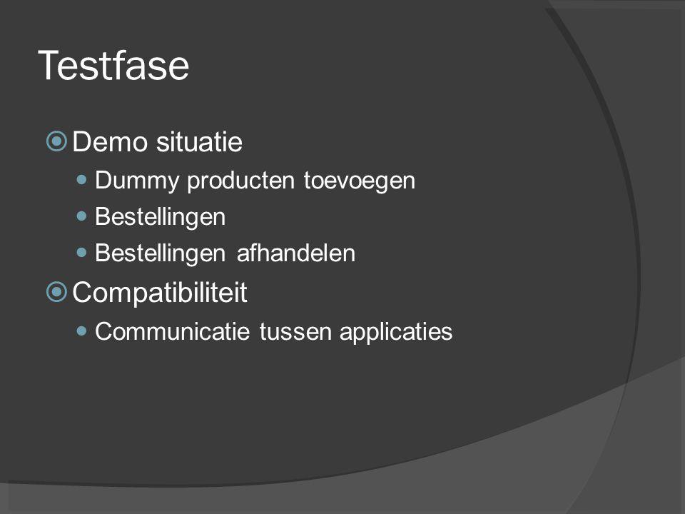 Testfase  Demo situatie Dummy producten toevoegen Bestellingen Bestellingen afhandelen  Compatibiliteit Communicatie tussen applicaties