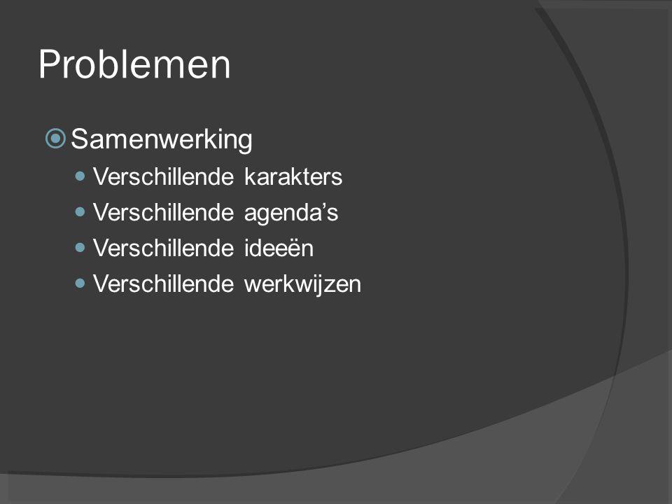 Problemen  Samenwerking Verschillende karakters Verschillende agenda's Verschillende ideeën Verschillende werkwijzen