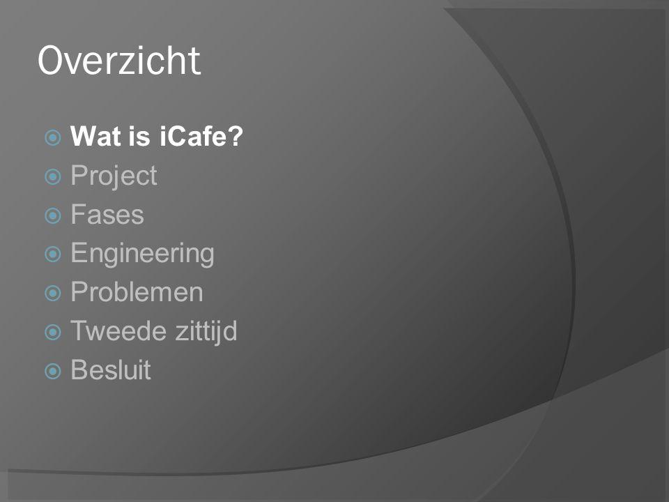 Overzicht  Wat is iCafe  Project  Fases  Engineering  Problemen  Tweede zittijd  Besluit