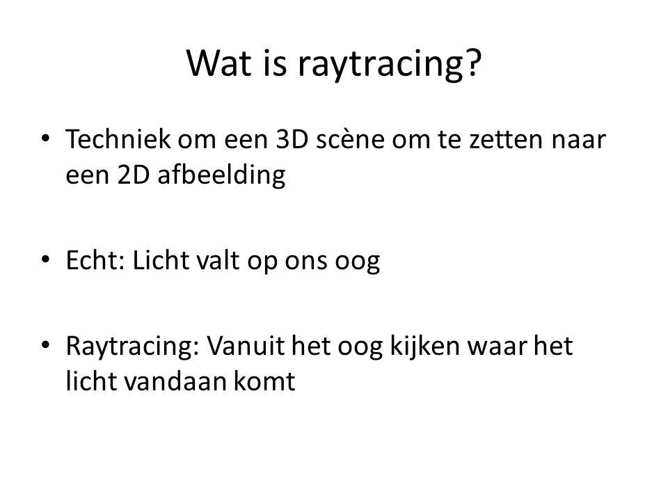 Wat is raytracing? Techniek om een 3D scène om te zetten naar een 2D afbeelding Echt: Licht valt op ons oog Raytracing: Vanuit het oog kijken waar het