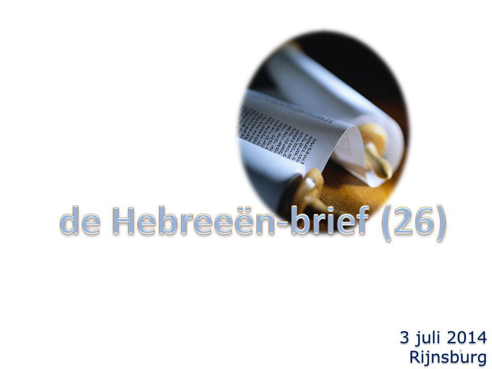 2 terugblik: Hebr.11: de vele geloofsgetuigen Hebr.12:1-3: de leidsman en voleinder van het geloof = Jezus  om de vreugde die Hem was voorgesteld de schande niet heeft geacht  gezeten aan Gods rechterhand
