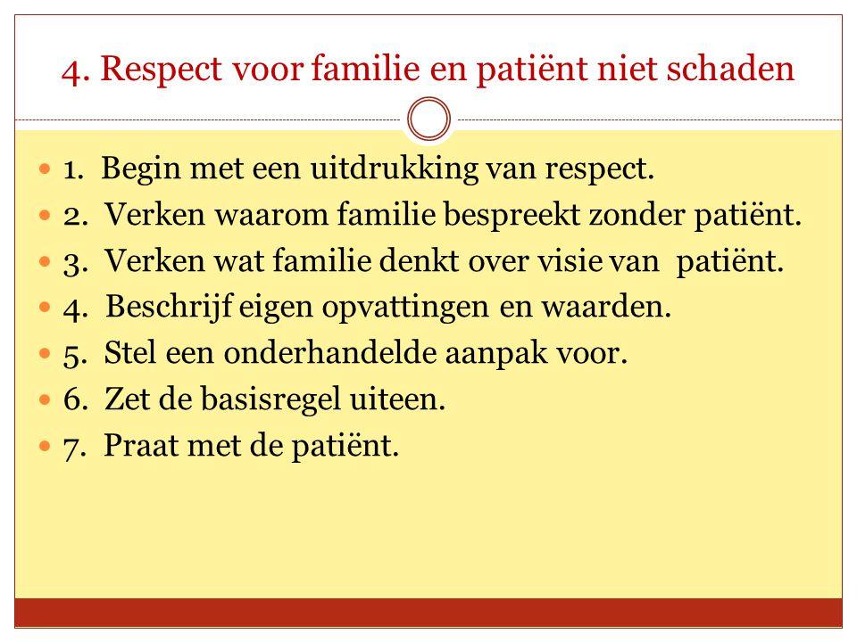 4. Respect voor familie en patiënt niet schaden 1. Begin met een uitdrukking van respect. 2. Verken waarom familie bespreekt zonder patiënt. 3. Verken