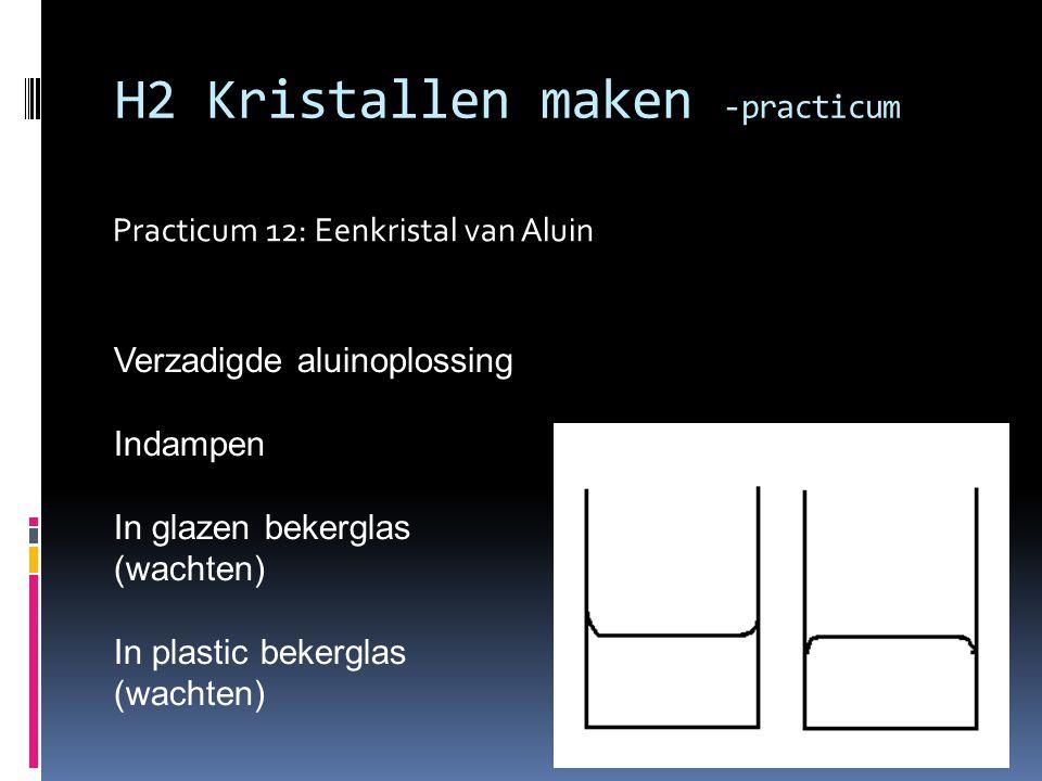 Practicum 12: Eenkristal van Aluin H2 Kristallen maken -practicum Verzadigde aluinoplossing Indampen In glazen bekerglas (wachten) In plastic bekergla