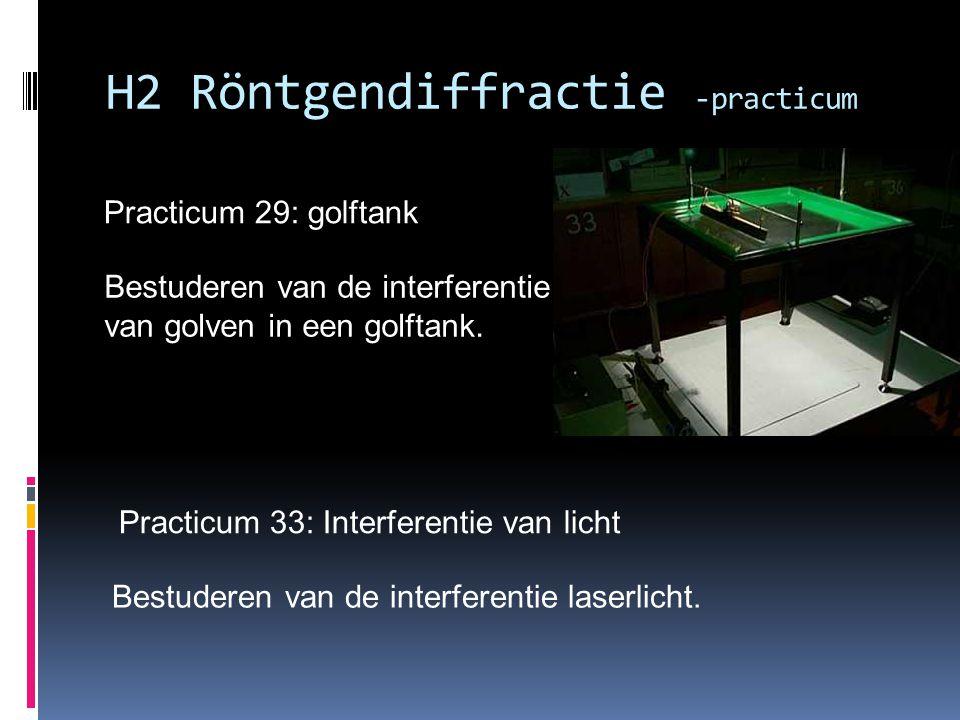 Practicum 29: golftank H2 Röntgendiffractie -practicum Bestuderen van de interferentie van golven in een golftank. Practicum 33: Interferentie van lic