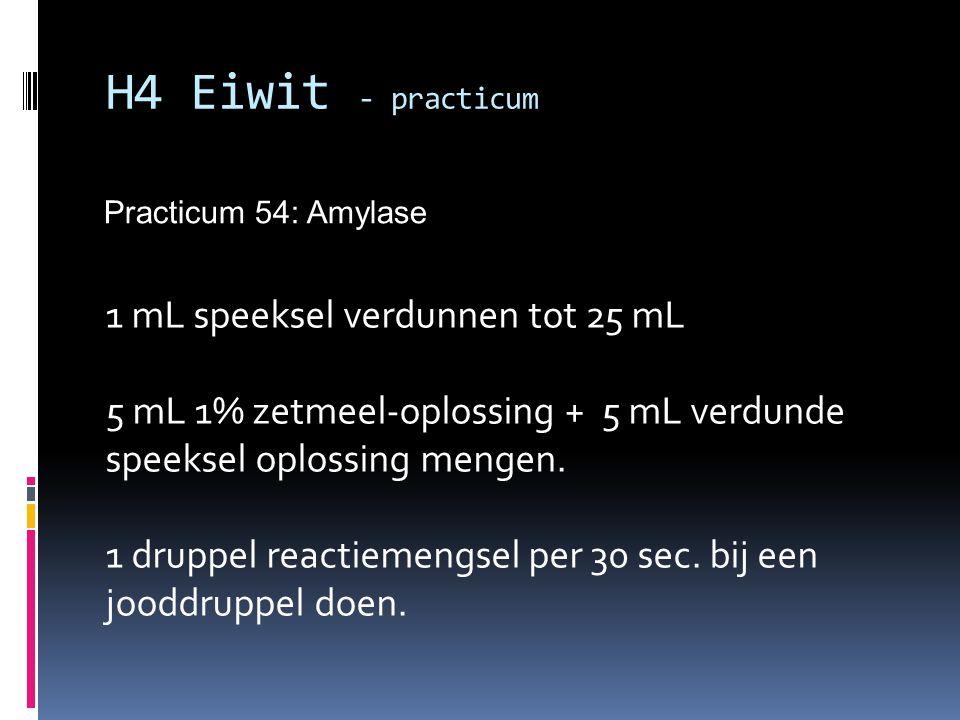 Practicum 54: Amylase H4 Eiwit - practicum 1 mL speeksel verdunnen tot 25 mL 5 mL 1% zetmeel-oplossing + 5 mL verdunde speeksel oplossing mengen. 1 dr