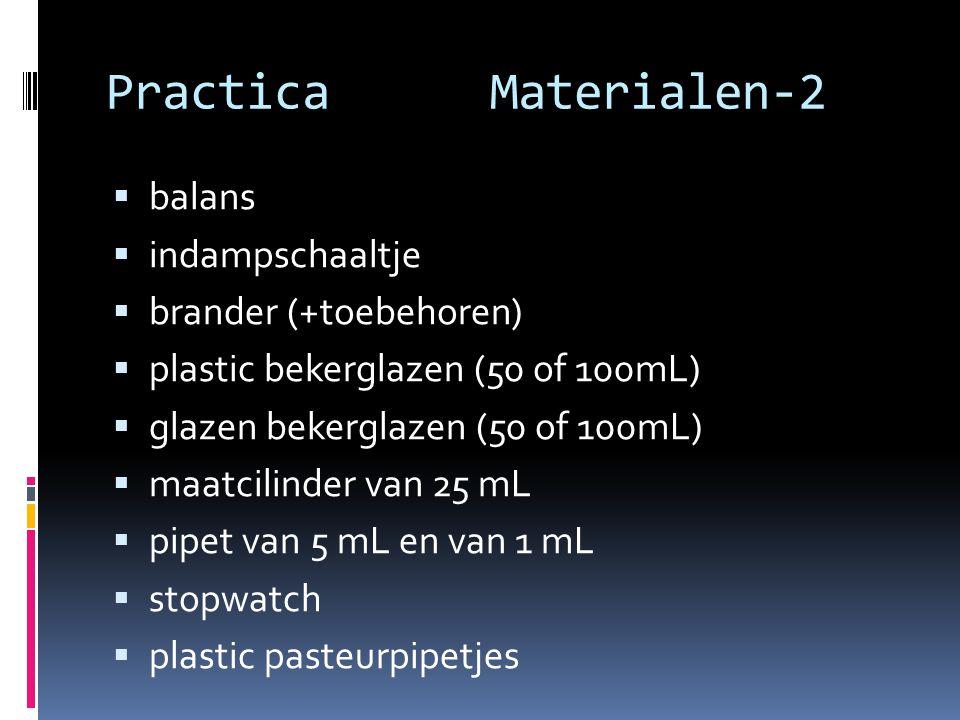 PracticaMaterialen-2  balans  indampschaaltje  brander (+toebehoren)  plastic bekerglazen (50 of 100mL)  glazen bekerglazen (50 of 100mL)  maatc