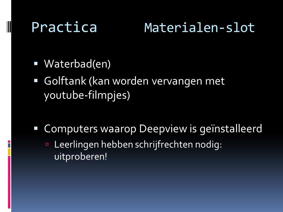 Practica Materialen-slot  Waterbad(en)  Golftank (kan worden vervangen met youtube-filmpjes)  Computers waarop Deepview is geïnstalleerd  Leerling