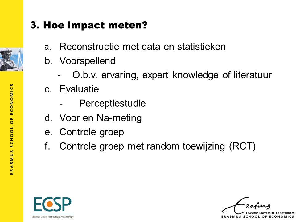 3. Hoe impact meten. a. Reconstructie met data en statistieken b.Voorspellend -O.b.v.