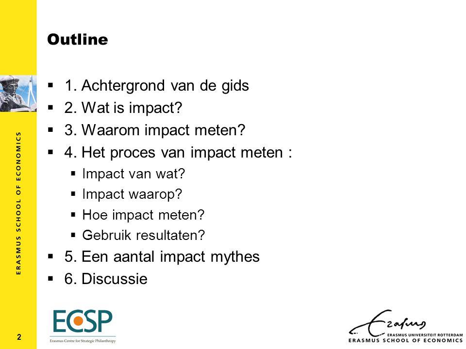 Outline  1. Achtergrond van de gids  2. Wat is impact.