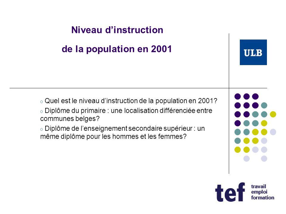 Niveau d'instruction de la population en 2001 o Quel est le niveau d'instruction de la population en 2001? o Diplôme du primaire : une localisation di
