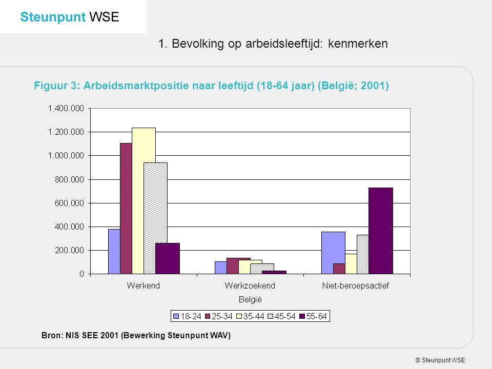 © Steunpunt WSE 1. Bevolking op arbeidsleeftijd: kenmerken Figuur 3: Arbeidsmarktpositie naar leeftijd (18-64 jaar) (België; 2001) Bron: NIS SEE 2001