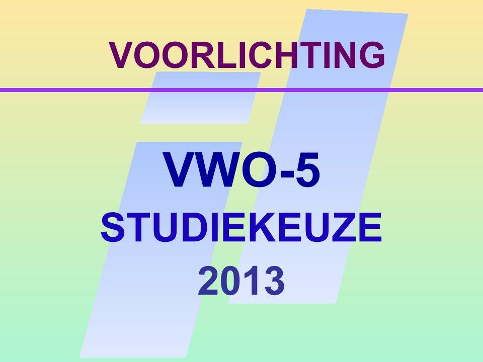 VOORLICHTING VWO-5 STUDIEKEUZE 2013