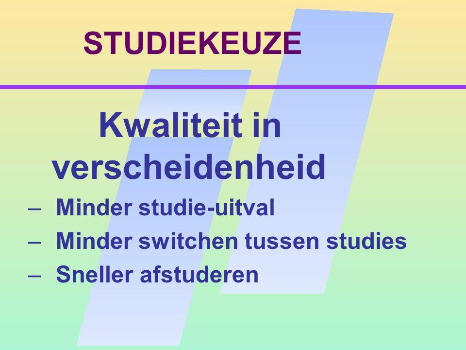 STUDIEKEUZE Kwaliteit in verscheidenheid – Minder studie-uitval – Minder switchen tussen studies – Sneller afstuderen
