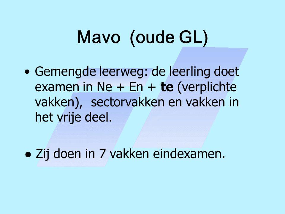 Mavo (oude GL) Gemengde leerweg: de leerling doet examen in Ne + En + te (verplichte vakken), sectorvakken en vakken in het vrije deel.