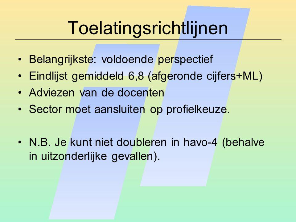 Toelatingsrichtlijnen Belangrijkste: voldoende perspectief Eindlijst gemiddeld 6,8 (afgeronde cijfers+ML) Adviezen van de docenten Sector moet aansluiten op profielkeuze.