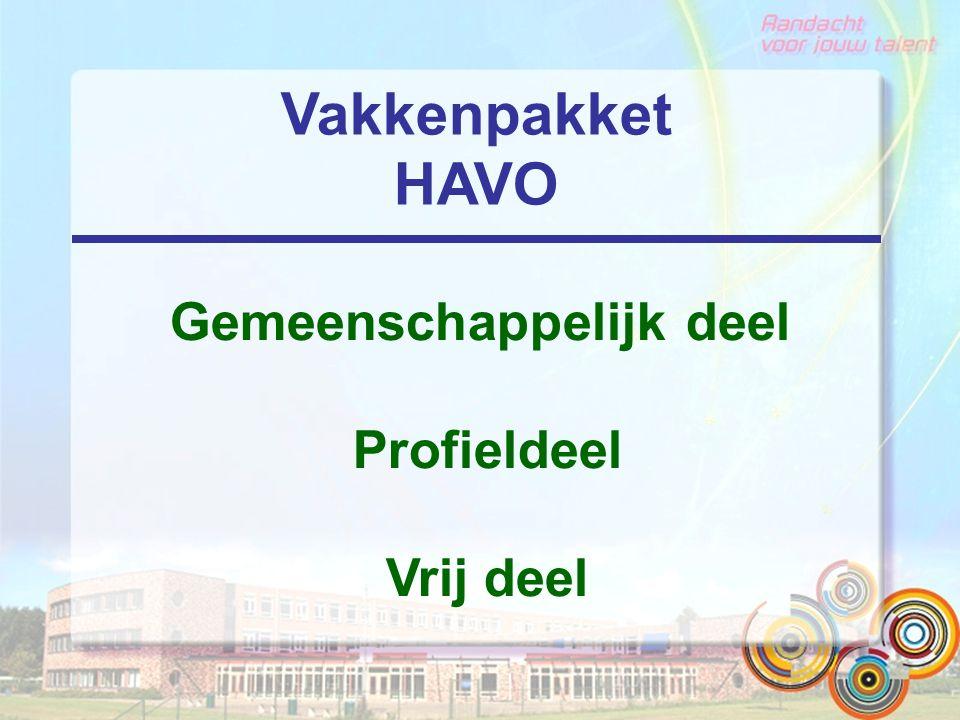 Vakkenpakket HAVO Gemeenschappelijk deel Profieldeel Vrij deel