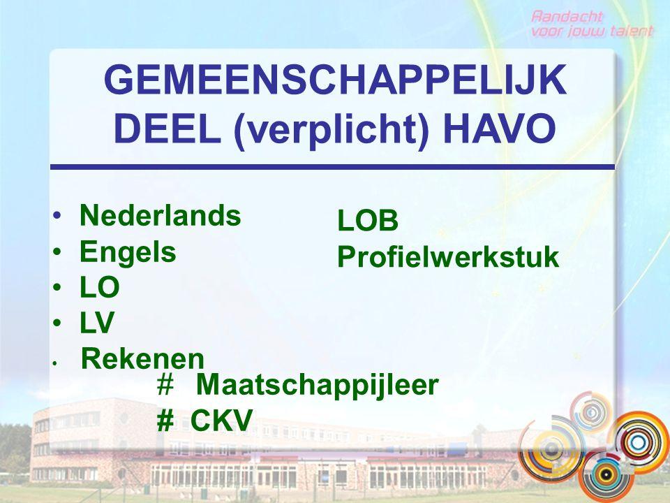 GEMEENSCHAPPELIJK DEEL (verplicht) HAVO Nederlands Engels LO LV Rekenen LOB Profielwerkstuk # Maatschappijleer # CKV