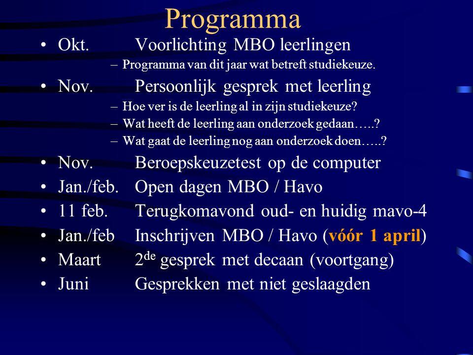 Programma Okt. Voorlichting MBO leerlingen –Programma van dit jaar wat betreft studiekeuze.