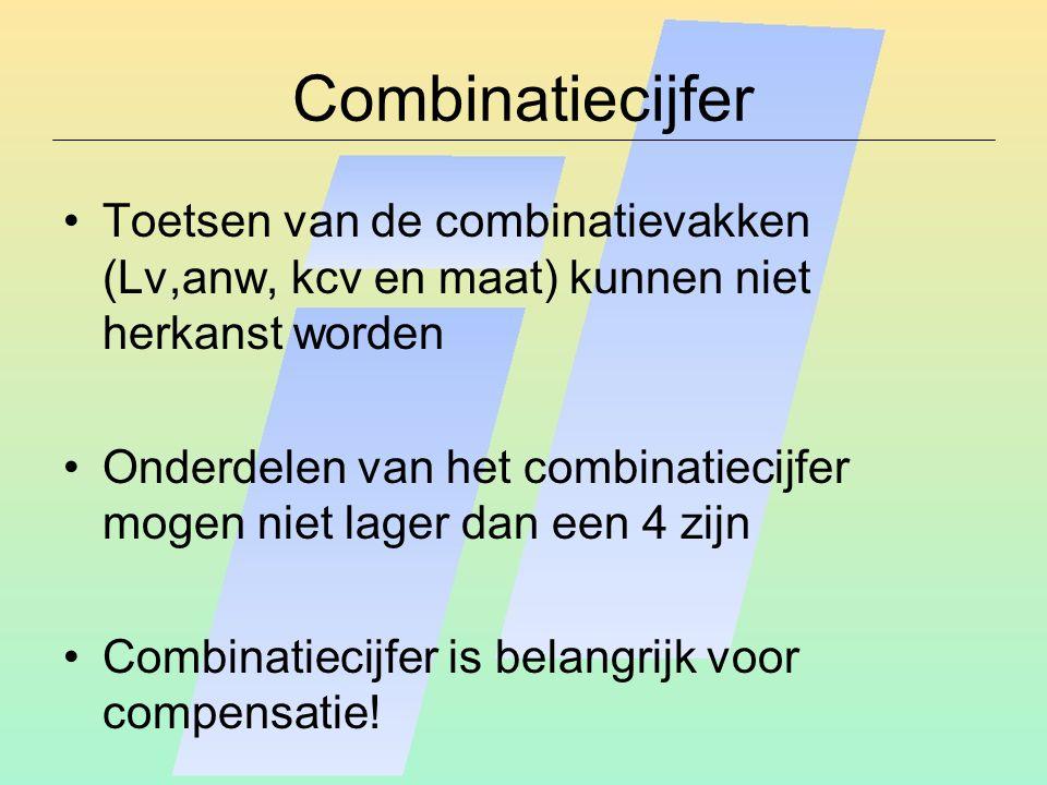 Combinatiecijfer Toetsen van de combinatievakken (Lv,anw, kcv en maat) kunnen niet herkanst worden Onderdelen van het combinatiecijfer mogen niet lager dan een 4 zijn Combinatiecijfer is belangrijk voor compensatie!