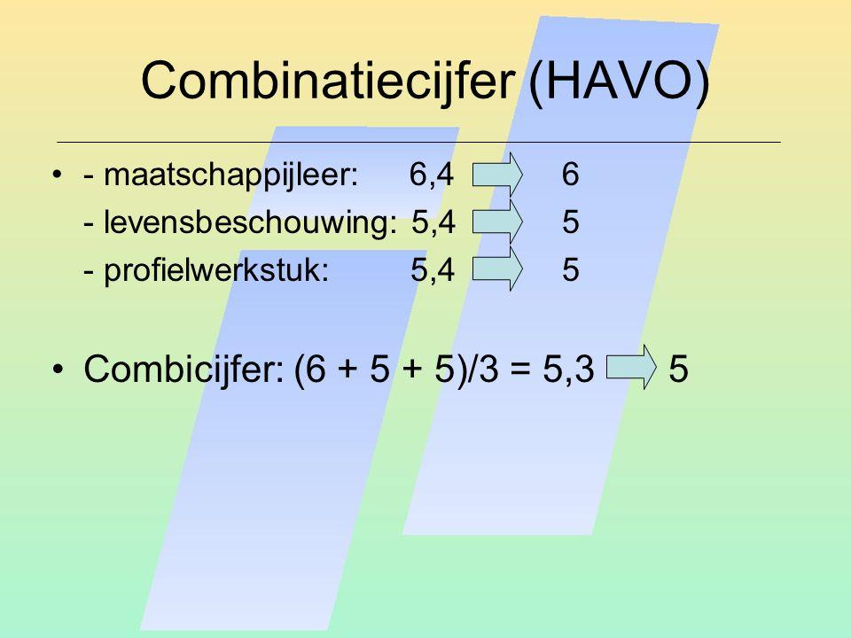 Combinatiecijfer (HAVO) - maatschappijleer: 6,46 - levensbeschouwing: 5,45 - profielwerkstuk: 5,4 5 Combicijfer: (6 + 5 + 5)/3 = 5,3 5