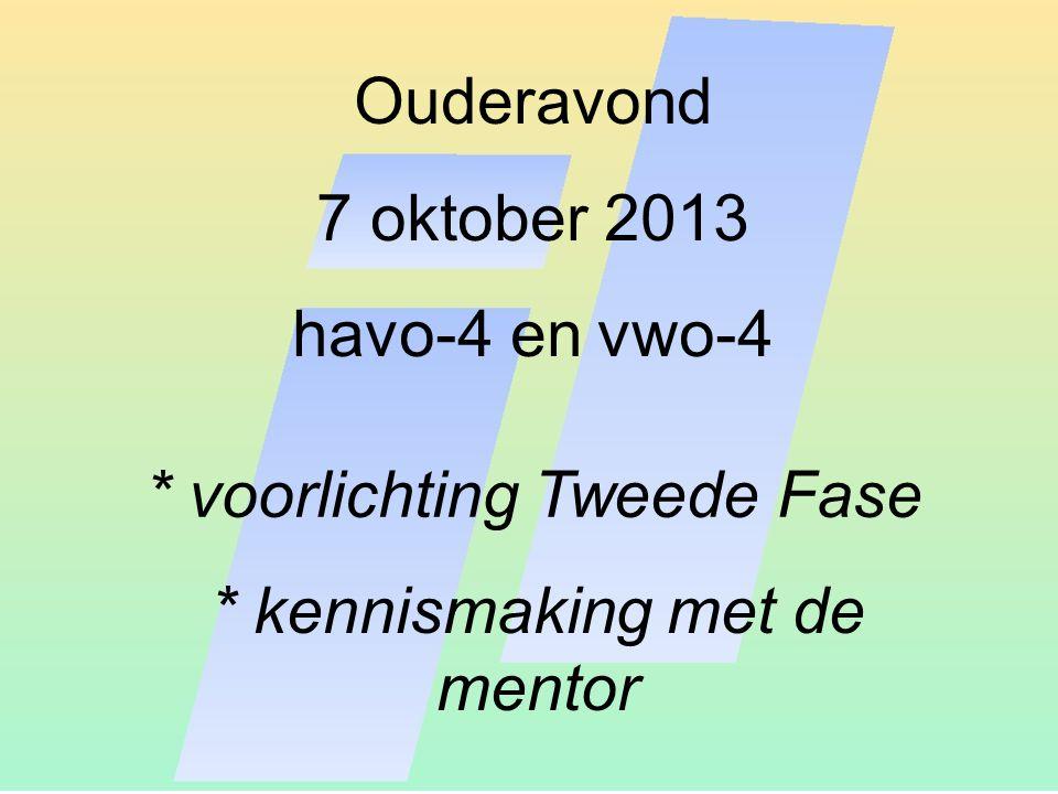 Ouderavond 7 oktober 2013 havo-4 en vwo-4 * voorlichting Tweede Fase * kennismaking met de mentor