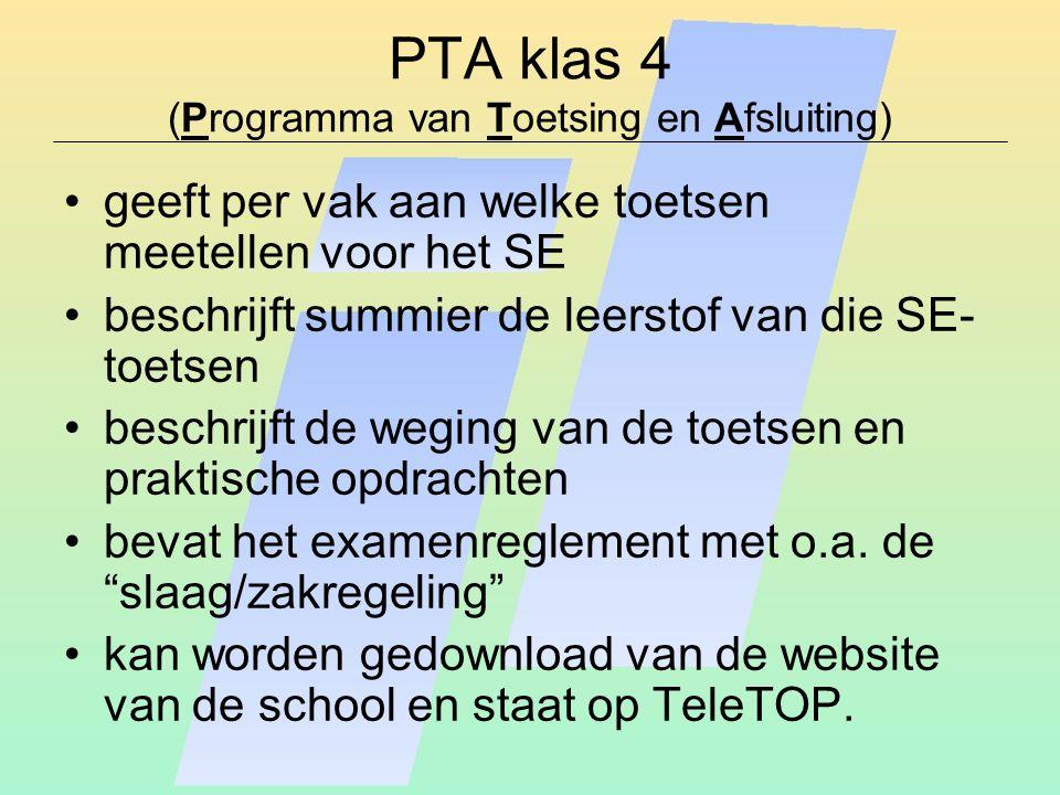 PTA klas 4 (Programma van Toetsing en Afsluiting) geeft per vak aan welke toetsen meetellen voor het SE beschrijft summier de leerstof van die SE- toetsen beschrijft de weging van de toetsen en praktische opdrachten bevat het examenreglement met o.a.