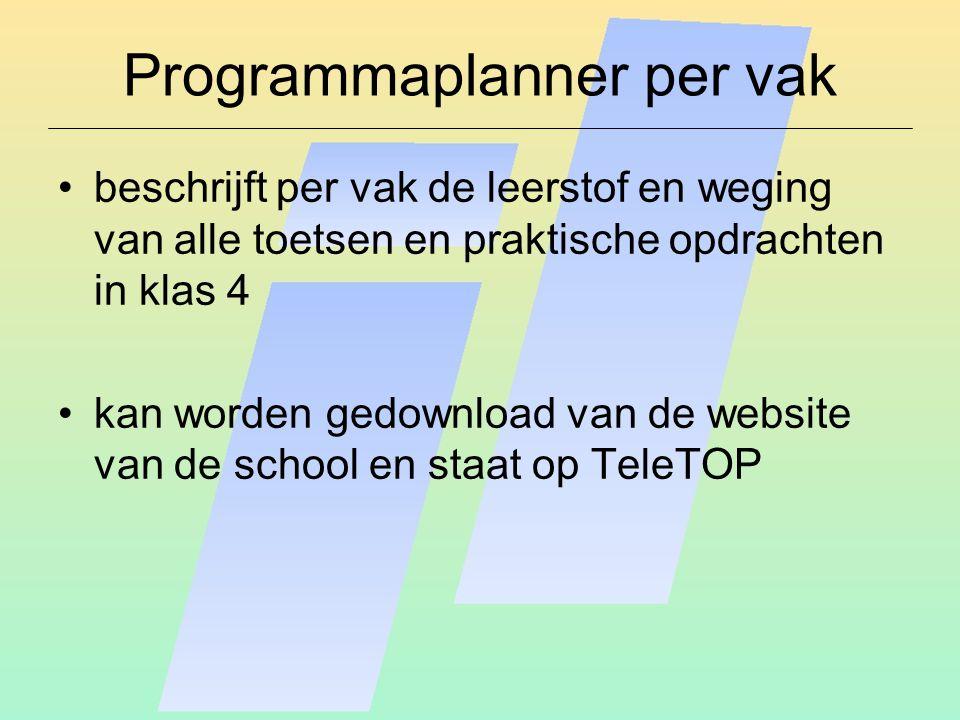Programmaplanner per vak beschrijft per vak de leerstof en weging van alle toetsen en praktische opdrachten in klas 4 kan worden gedownload van de website van de school en staat op TeleTOP
