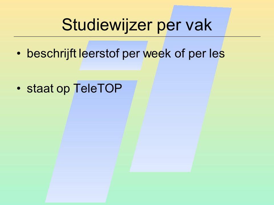 Studiewijzer per vak beschrijft leerstof per week of per les staat op TeleTOP