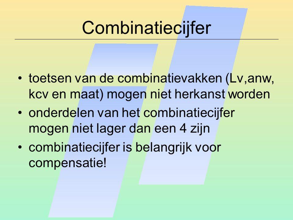 Combinatiecijfer toetsen van de combinatievakken (Lv,anw, kcv en maat) mogen niet herkanst worden onderdelen van het combinatiecijfer mogen niet lager dan een 4 zijn combinatiecijfer is belangrijk voor compensatie!