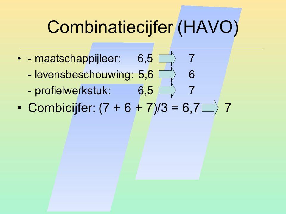 Combinatiecijfer (HAVO) - maatschappijleer: 6,57 - levensbeschouwing: 5,66 - profielwerkstuk: 6,5 7 Combicijfer: (7 + 6 + 7)/3 = 6,7 7