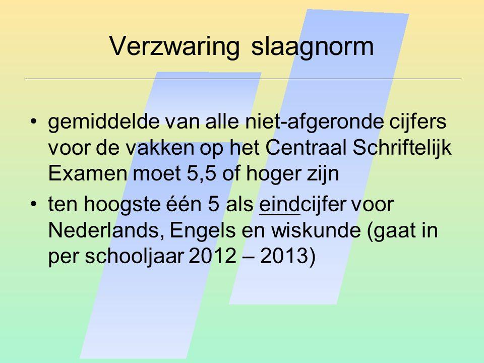 Verzwaring slaagnorm gemiddelde van alle niet-afgeronde cijfers voor de vakken op het Centraal Schriftelijk Examen moet 5,5 of hoger zijn ten hoogste één 5 als eindcijfer voor Nederlands, Engels en wiskunde (gaat in per schooljaar 2012 – 2013)