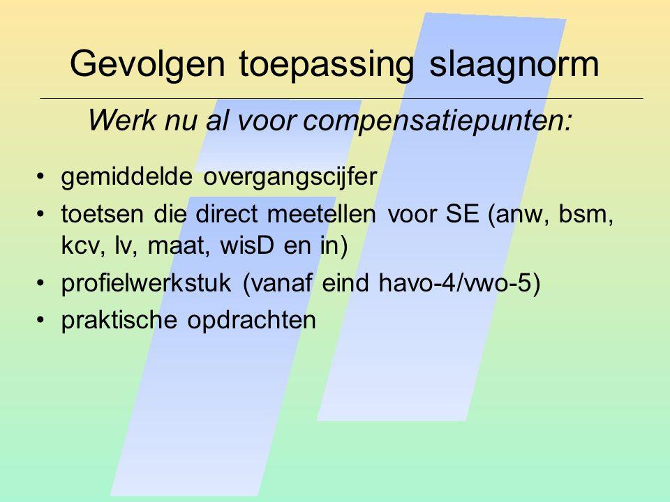 Gevolgen toepassing slaagnorm gemiddelde overgangscijfer toetsen die direct meetellen voor SE (anw, bsm, kcv, lv, maat, wisD en in) profielwerkstuk (vanaf eind havo-4/vwo-5) praktische opdrachten Werk nu al voor compensatiepunten: