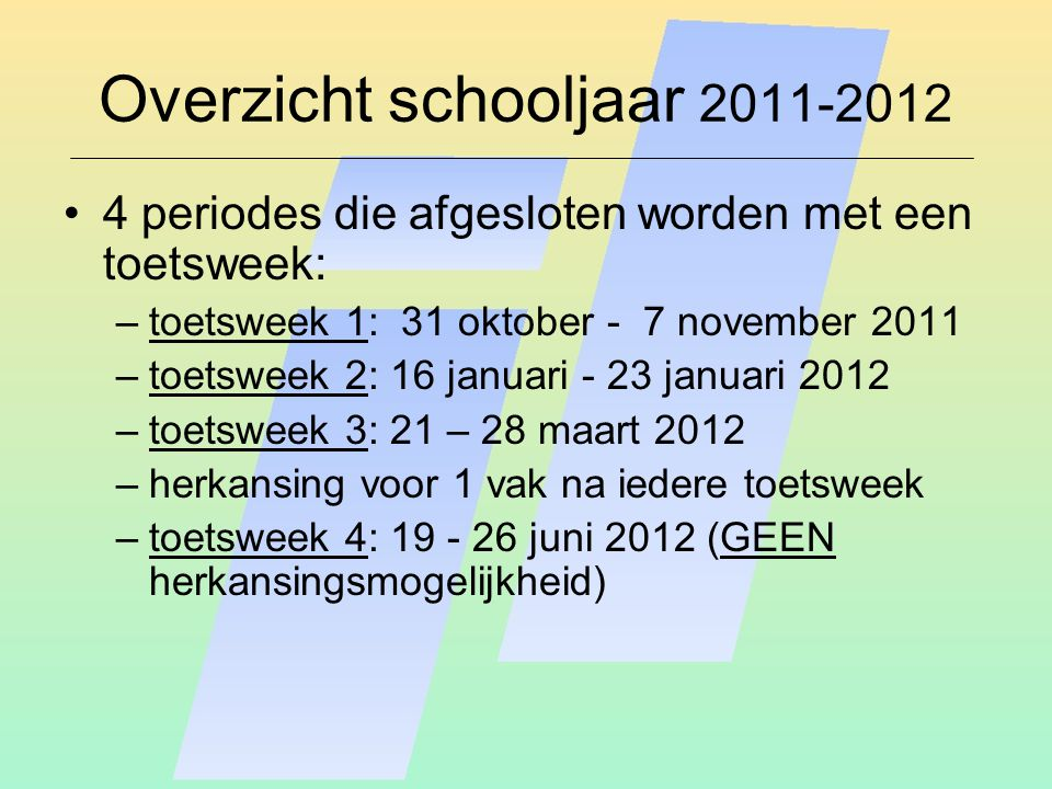 Overzicht schooljaar 2011-2012 4 periodes die afgesloten worden met een toetsweek: –toetsweek 1: 31 oktober - 7 november 2011 –toetsweek 2: 16 januari - 23 januari 2012 –toetsweek 3: 21 – 28 maart 2012 –herkansing voor 1 vak na iedere toetsweek –toetsweek 4: 19 - 26 juni 2012 (GEEN herkansingsmogelijkheid)