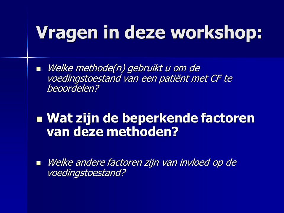 Vragen in deze workshop: Welke methode(n) gebruikt u om de voedingstoestand van een patiënt met CF te beoordelen.