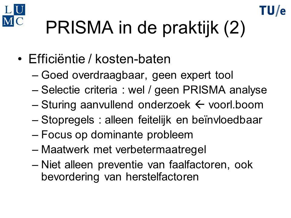 PRISMA in de praktijk (2) Efficiëntie / kosten-baten –Goed overdraagbaar, geen expert tool –Selectie criteria : wel / geen PRISMA analyse –Sturing aan