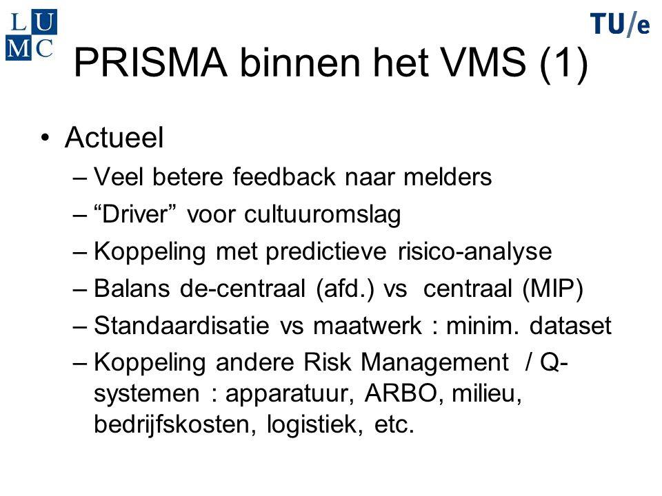 """PRISMA binnen het VMS (1) Actueel –Veel betere feedback naar melders –""""Driver"""" voor cultuuromslag –Koppeling met predictieve risico-analyse –Balans de"""