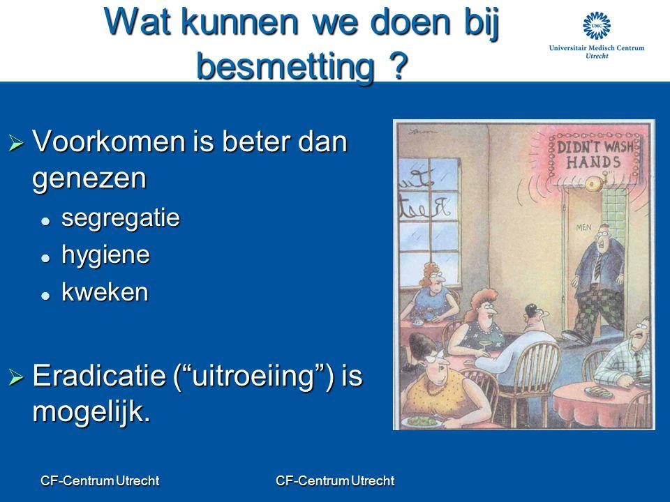 CF-Centrum Utrecht Wat kunnen we doen bij besmetting ?  Voorkomen is beter dan genezen segregatie segregatie hygiene hygiene kweken kweken  Eradicat