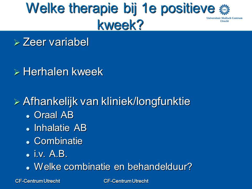 CF-Centrum Utrecht Welke therapie bij 1e positieve kweek?  Zeer variabel  Herhalen kweek  Afhankelijk van kliniek/longfunktie Oraal AB Oraal AB Inh