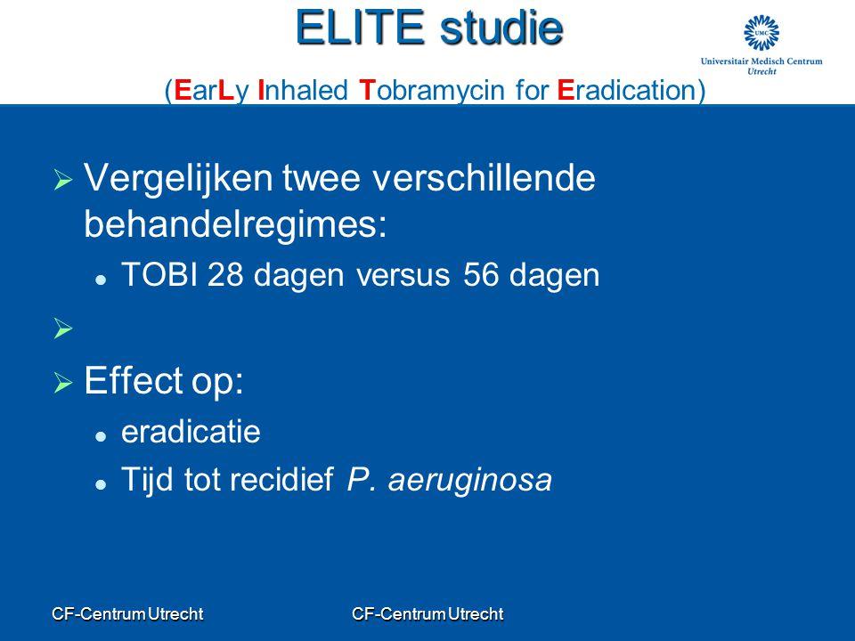 CF-Centrum Utrecht ELITE studie ELITE studie (EarLy Inhaled Tobramycin for Eradication)   Vergelijken twee verschillende behandelregimes: TOBI 28 dagen versus 56 dagen     Effect op: eradicatie Tijd tot recidief P.