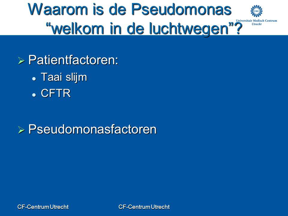 """CF-Centrum Utrecht Waarom is de Pseudomonas """"welkom in de luchtwegen""""?  Patientfactoren: Taai slijm Taai slijm CFTR CFTR  Pseudomonasfactoren"""