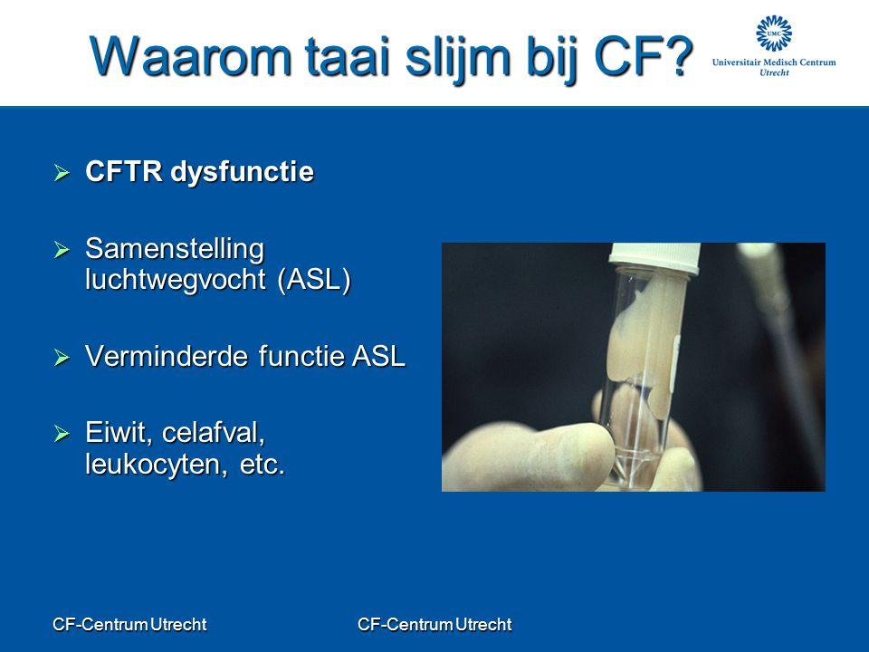 CF-Centrum Utrecht Waarom taai slijm bij CF?  CFTR dysfunctie  Samenstelling luchtwegvocht (ASL)  Verminderde functie ASL  Eiwit, celafval, leukoc