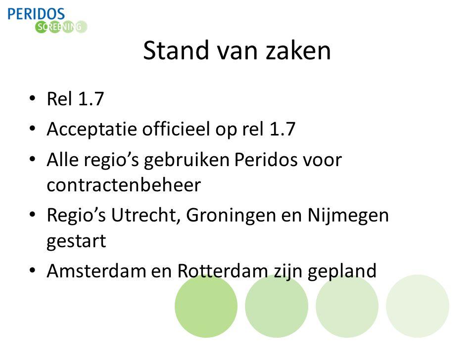 Stand van zaken Rel 1.7 Acceptatie officieel op rel 1.7 Alle regio's gebruiken Peridos voor contractenbeheer Regio's Utrecht, Groningen en Nijmegen ge