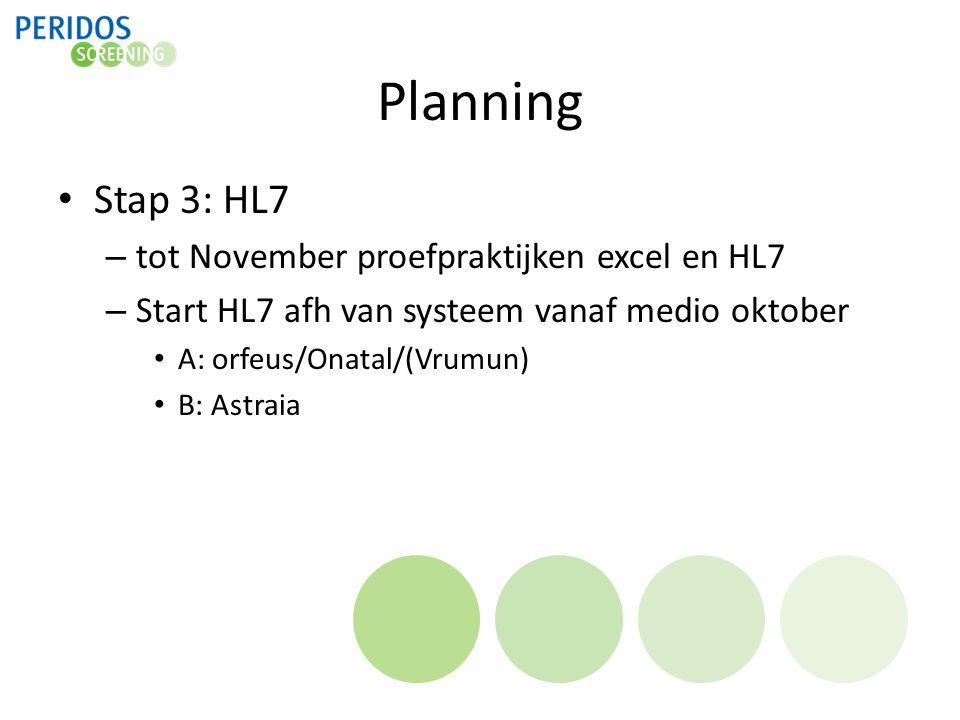 Planning Stap 3: HL7 – tot November proefpraktijken excel en HL7 – Start HL7 afh van systeem vanaf medio oktober A: orfeus/Onatal/(Vrumun) B: Astraia